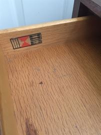 Florence Knoll End table drawer interior marking