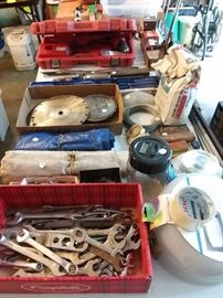 Wrenches, saw blades, Milwaukee cordless drill
