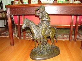 Antique Bronze of Arab Huntsman on Horseback, by Ferdinand Pautrot, a French artist, 1832 - 1874.  Nice patina and 30 inches high  and base measures 20 inches, very detailed.