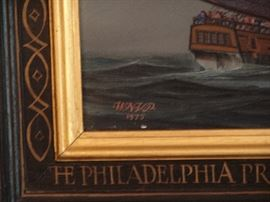 This painting and frame are signed by Mr. Powell.  The action of the battle is well depicted in this painting as can be seen in the bright illumination fires and reflections of the battle as well as the fright on the faces of the sailors.  Truly a fine representation of maritime battles during the Revolutionary War and a piece of art that is timeless.