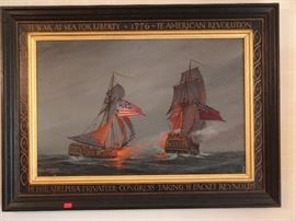 Rare Oil on Canvas depicting maritime battle of the Revolutionary War by internationally known artist, William Nowland Van Powell.  Mr. Powell, a native Memphian, had a reputation for historical accuracy which was borne out of his painting.  He consulted  ship's logs and plans of ship's architects, some obtained from museums in London, before committing subjects to canvas.                                                                                                               Mr. Powell was commissioned by the government of Paraguay for paintings of boats to b e featured on nine commemorative stamps.  He has permanent exhibits of paintings of American Revolutionary warships at the Navy Department in Washington and at Independence Mall in Philadelphia and at the John Paul Jones crypt at Annapolis,       Maryland.                                                                                                        He also has also exhibited paintings in Colonial Williamsburg, the C