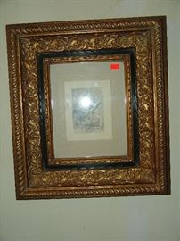 Antique framed Renoir etching re-strike on paper by Pierre Auguste Renoir entitled Le Chapeau Epingle'
