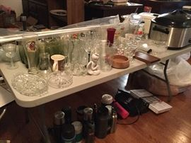 Variety of glassware, kitchen appliances; $25 Large Pictured Crockpot brand cooker
