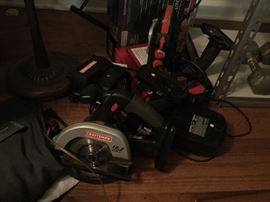 Craftsman 19.2 v with chargers, batteries, hand saw, impact drill, reglar drill,  hand car vac and light accessory, can be broken into 2 lots; neg.