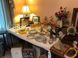 Spode Plates - Blue Room Collection, Vintage drinking Glasses, Gold Leaf Sconces,etc.