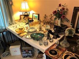 Spode Plates - Blue Room Collection, Vintage drinking Glasses, Gold Leaf Sconces, carnival glass, etc.