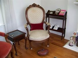Vintage parlour chair and antique hot water container