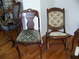 Vintage folding rocking chair and vintage side chair