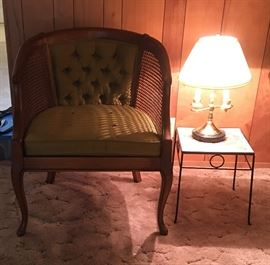 cane back chair and lamp