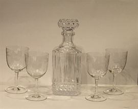 Crystal decanter and etched wine glasses