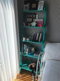 Teal green ladder and decor