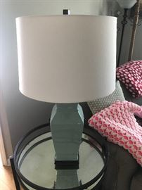 Muted teal green lamp