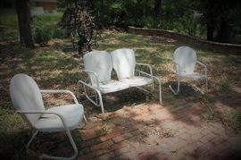 Vintage metal lawn patio chairs and settee