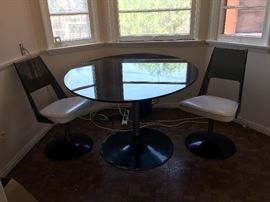 Mid Century Eames style smokey lucite tulip dining set w/oval table & 4 chairs