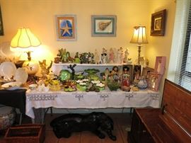 This Is A Fun Table. Dolls, Ladies And Frogs!