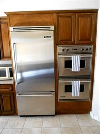 Stainless Steel Viking Refrigerator and Double Oven
