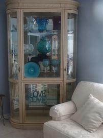 Curio cabinet has lights