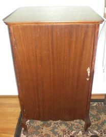 Walnut music cabinet was $125, now $85.