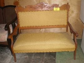 Victorian settee was $50, marked down to $30.