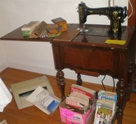 Montgomery Wards Damascus Electric Sewing Mahine in beautiful cabinet was $90, now $40.