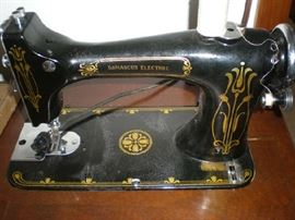 Close up of deco design on sewing machine.
