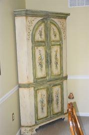 Sweet Hand Painted Corner Cabinet