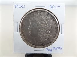 1900 Morgan Silver Dollar with Bag Marks MS-