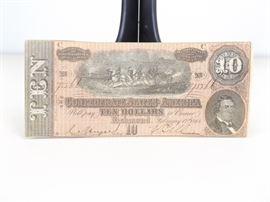 Gem MINT Uncirculated 1864 Confederate States of America Ten Dollar Note