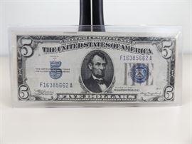 1934-A U.S. Five Dollar Blue Seal Silver Certificate