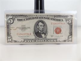 UNCIRCULATED 1953-B U.S. Five Dollar Red Seal Certificate