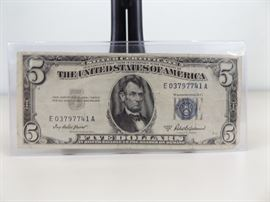 1953-A U.S. Five Dollar Blue Seal Silver Certificate