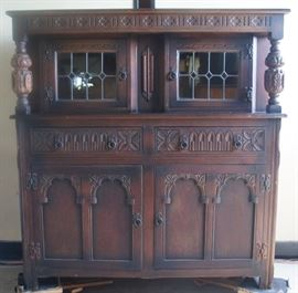 Oak Court Cupboard, Great Carving, Lead Glass Windows