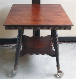 Parlor Table, Excellent Condition, Carved Legs, Large Glass Ball & Claw Feet