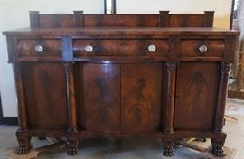 Fantastic Empire Sideboard, Sandwich Glass Knobs, Large Paw Feet, Great Condition