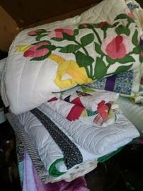 SEVERAL VINTAGE HAND MADE QUILTS