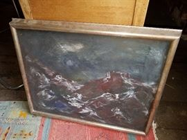 Signed oil painting by Kenneth Callahan. (1905-1986). Dark Modernist Abstract seascape painting.