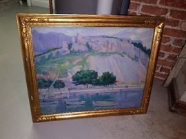 Abel Warshawsky. Titled Cassis on reverse. Southern France coastal painting