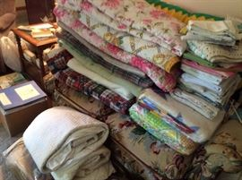 nice clean blankets, coverlets, sheets and pillow cases