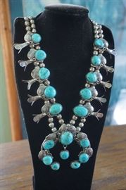 Amazing Sterling and turquoise  Squash Blossom necklace