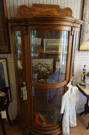 Solid Oak lighted display cabinet