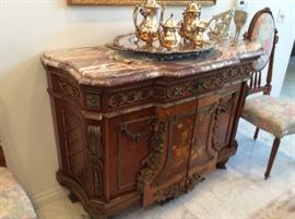 "MARBLE TOP SIDEBOARD HAND EMBELLISHED AND HAND PAINTED 48"" WIDE"