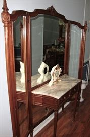ANTIQUE MARBLE TOP VANITY WITH FULL LENGTH TRI-FOLD MIRRORS - GORGEOUS ! (SEE NEXT PICTURE)