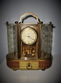 VINTAGE SCHMID 8 DAY CARRIAGE CLOCK WITH MUSIC BOX - GERMANY