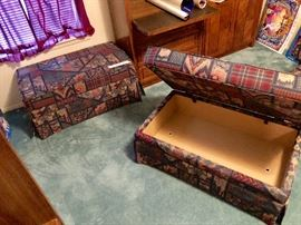 Two ottomans with trunk style lids - ideal for storage.