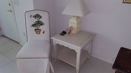 Painted slip cover chair with Island Chic lamp table