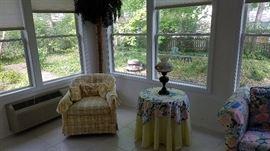 Yellow plaid print chair, lamp