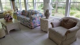 Island Chic, white wicker, Basset chair, floral print couch, silk flowers, nice lamps
