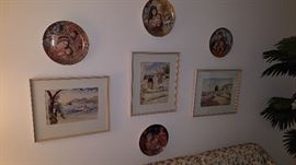 Edna Hibel designed plates, watercolors from around the world