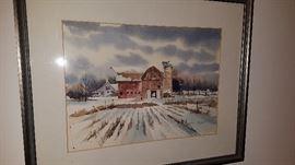 """Gail Olsen watercolor """"Red Barn"""""""