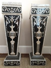 "Very nice pair of contemporary Neoclassical inspired composite pedestals, the body of each with crackle-style decoration of foliate scrolls surmounting urns on pedestals, measures 42""h x 12""sq. top."